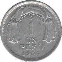 reverse of 1 Peso (1954 - 1958) coin with KM# 179a from Chile. Inscription: So 1 UN PESO 1956