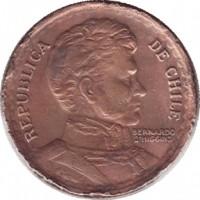 obverse of 1 Peso (1942 - 1954) coin with KM# 179 from Chile. Inscription: REPUBLICA DE CHILE BERNARDO O'HIGGINS