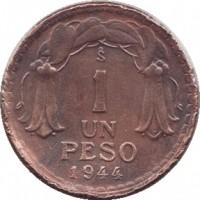 reverse of 1 Peso (1942 - 1954) coin with KM# 179 from Chile. Inscription: So 1 UN PESO 1944