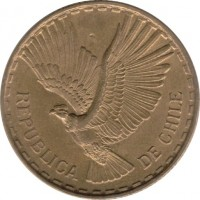 obverse of 5 Centésimos (1960 - 1971) coin with KM# 190 from Chile. Inscription: REPUBLICA DE CHILE