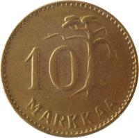 reverse of 10 Markkaa (1952 - 1962) coin with KM# 38 from Finland. Inscription: 10 MARKKAA