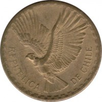 obverse of 2 Centésimos (1960 - 1970) coin with KM# 193 from Chile. Inscription: REPUBLICA DE CHILE