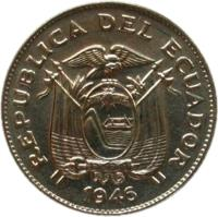 obverse of 5 Centavos (1946) coin with KM# 75b from Ecuador. Inscription: REPUBLICA DEL ECUADOR 1946