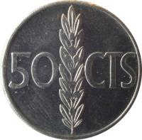 reverse of 50 Centimos - Juan Carlos I (1975) coin with KM# 805 from Spain. Inscription: 50 CTS
