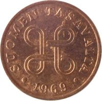 obverse of 1 Penni (1963 - 1969) coin with KM# 44 from Finland. Inscription: SUOMEN TASAVALTA 1968