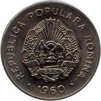 obverse of 25 Bani (1960) coin with KM# 88 from Romania. Inscription: REPUBLICA POPULARA ROMINA RPR · 1960 ·