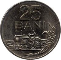 reverse of 25 Bani (1960) coin with KM# 88 from Romania. Inscription: 25 BANI