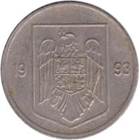 obverse of 5 Lei (1992 - 2005) coin with KM# 114 from Romania. Inscription: 1992 V.G.