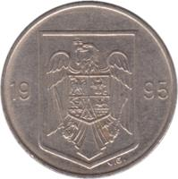 obverse of 10 Lei (1993 - 2003) coin with KM# 116 from Romania. Inscription: 19 93 V.G