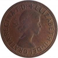 obverse of 1/2 Penny - Elizabeth II - With F:D:; 1'st Portrait (1959 - 1964) coin with KM# 61 from Australia. Inscription: +ELIZABETH · II · DEI · GRATIA · REGINA · F:D: