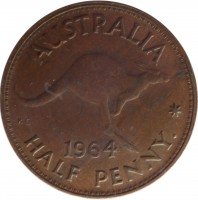 reverse of 1/2 Penny - Elizabeth II - With F:D:; 1'st Portrait (1959 - 1964) coin with KM# 61 from Australia. Inscription: AUSTRALIA KG 1964 HALF PENNY *