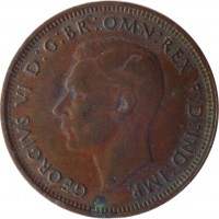 obverse of 1/2 Penny - George VI - With IND:IMP (1939 - 1948) coin with KM# 41 from Australia. Inscription: GEORGIVS VI D:G:BR:OMN:REX F:D:IND:IMP.