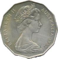 obverse of 50 Cents - Elizabeth II - Commonwealth Games (1982) coin with KM# 74 from Australia. Inscription: ELIZABETH II AUSTRALIA 1982