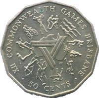 reverse of 50 Cents - Elizabeth II - Commonwealth Games (1982) coin with KM# 74 from Australia. Inscription: XII COMMONWEALTH GAMES BRISBANE · 50 CENTS ·