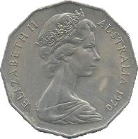 obverse of 50 Cents - Elizabeth II - Captain Cook (1970) coin with KM# 69 from Australia. Inscription: ELIZABETH II AUSTRALIA 1970