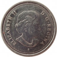obverse of 25 Cents - Elizabeth II - Year of the Veteran (2005) coin with KM# 535 from Canada. Inscription: ELIZABETH II D · G · REGINA P