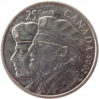 reverse of 25 Cents - Elizabeth II - Year of the Veteran (2005) coin with KM# 535 from Canada. Inscription: 25 CENTS CANADA 2005 EG