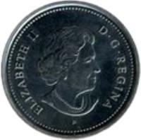 obverse of 25 Cents - Elizabeth II - Alberta (2005) coin with KM# 530 from Canada. Inscription: ELIZABETH II D · G · REGINA P