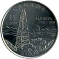 reverse of 25 Cents - Elizabeth II - Alberta (2005) coin with KM# 530 from Canada. Inscription: CANADA 25 ALBERTA cents 1905-2005