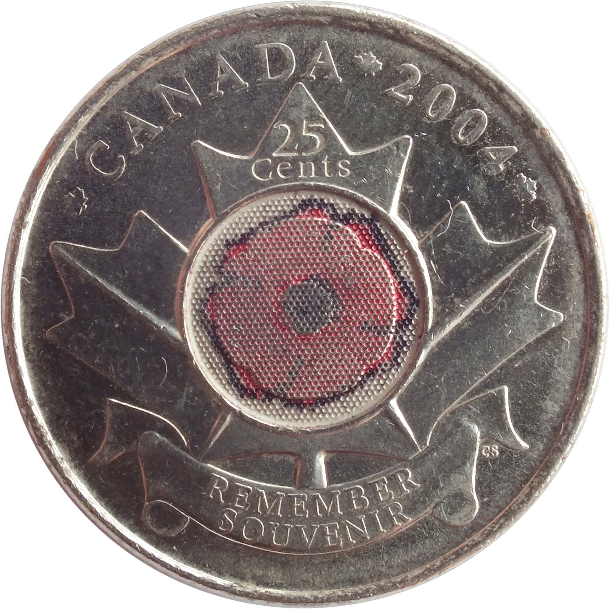 25 Cents Elizabeth Ii Remembrance Day 2004 Canada Km 510 Coinsbook