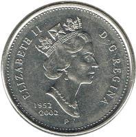 obverse of 25 Cents - Elizabeth II - Golden Jubilee - 3'rd Portrait (2002) coin with KM# 448 from Canada. Inscription: ELIZABETH II D · G · REGINA 1952-2002