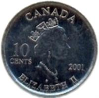 obverse of 10 Cents - Elizabeth II - Year of volunteers (2001) coin with KM# 412 from Canada. Inscription: 10 CENTS 2001 CANADA ELIZABETH II P