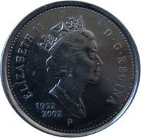 obverse of 10 cents - Elizabeth II - Golden Jubilee - 3'rd Portrait (2002) coin with KM# 447 from Canada. Inscription: ELIZABETH II D · G · REGINA 1952-2002 P
