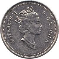 obverse of 10 Cents - Elizabeth II - Confederation - 3'rd Portrait (1992) coin with KM# 206 from Canada. Inscription: ELIZABETH II D · G · REGINA
