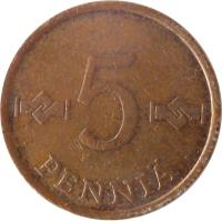 reverse of 5 Penniä (1963 - 1977) coin with KM# 45 from Finland. Inscription: 5 PENNIÄ