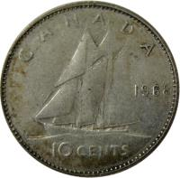 reverse of 10 Cents - Elizabeth II - 2'nd Portrait (1968 - 1969) coin with KM# 72 from Canada. Inscription: 10 CENTS CANADA 1968 H