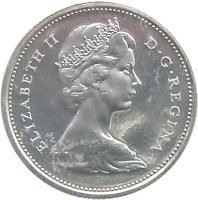 obverse of 10 Cents - Elizabeth II - Confederation (1967) coin with KM# 67 from Canada. Inscription: ELIZABETH II D · G · REGINA