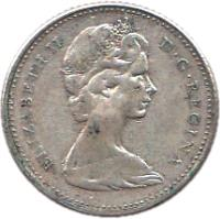 obverse of 10 Cents - Elizabeth II - 2'nd Portrait (1965 - 1966) coin with KM# 61 from Canada. Inscription: ELIZABETH II D · G · REGINA