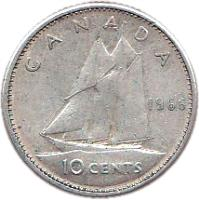 reverse of 10 Cents - Elizabeth II - 2'nd Portrait (1965 - 1966) coin with KM# 61 from Canada. Inscription: 10 CENTS CANADA 1965 H