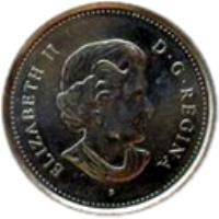 obverse of 5 Cents - Elizabeth II - 60th Anniversary of Victory in Europe (2005) coin with KM# 627 from Canada. Inscription: ELIZABETH II D · G · REGINA