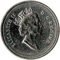 obverse of 5 Cents - Elizabeth II - Confederation (1992) coin with KM# 205 from Canada. Inscription: ELIZABETH II D · G · REGINA
