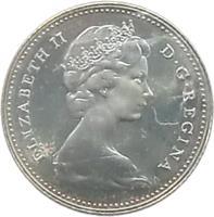 obverse of 5 Cents - Elizabeth II - Confederation (1967) coin with KM# 66 from Canada. Inscription: ELIZABETH II D · G · REGINA