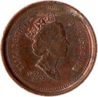 obverse of 1 Cent - Elizabeth II - Golden Jubilee - 3'rd Portrait (2002) coin with KM# 445 from Canada. Inscription: ELIZABETH II D · G · REGINA 1952 2002