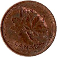 reverse of 1 Cent - Elizabeth II - Golden Jubilee - 3'rd Portrait (2002) coin with KM# 445 from Canada. Inscription: 1CENT K.G. CANADA