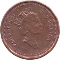 obverse of 1 Cent - Elizabeth II - Confederation - 3'rd Portrait (1992) coin with KM# 204 from Canada. Inscription: ELIZABETH II D · G · REGINA