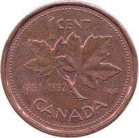 reverse of 1 Cent - Elizabeth II - Confederation - 3'rd Portrait (1992) coin with KM# 204 from Canada. Inscription: 1 CENT 1867-1992 KG CANADA
