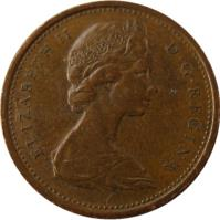 obverse of 1 Cent - Elizabeth II - Confederation - 2'nd Portrait (1967) coin with KM# 65 from Canada. Inscription: ELIZABETH II D · G · REGINA