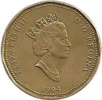 obverse of 1 Dollar - Elizabeth II - National War Memorial (1994) coin with KM# 248 from Canada. Inscription: ELIZABETH II D · G · REGINA 1994