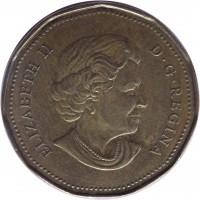 obverse of 1 Dollar - Elizabeth II - Lucky Loonie (2006) coin with KM# 630 from Canada. Inscription: ELIZABETH II D · G · REGINA