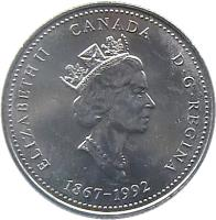 obverse of 25 Cents - Elizabeth II - Saskatchewan (1992) coin with KM# 233 from Canada. Inscription: ELIZABETH II CANADA D · G · REGINA 1867-1992