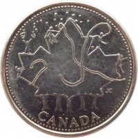 reverse of 25 Cents - Elizabeth II - Canada Day (2002) coin with KM# 451 from Canada. Inscription: JC CANADA
