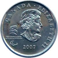 obverse of 25 Cents - Elizabeth II - Wheelchair Curling (2007) coin with KM# 684 from Canada. Inscription: CANADA · ELIZABETH II 2007 PARALYMPIC GAMES JEUX PARALYMPIQUES