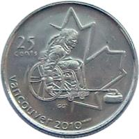 reverse of 25 Cents - Elizabeth II - Wheelchair Curling (2007) coin with KM# 684 from Canada. Inscription: 25 CENTS VANCOUVER 2010