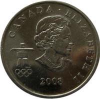 obverse of 25 Cents - Elizabeth II - Snowboarding (2008) coin with KM# 768 from Canada. Inscription: CANADA · ELIZABETH II 2008