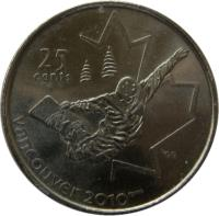 reverse of 25 Cents - Elizabeth II - Snowboarding (2008) coin with KM# 768 from Canada. Inscription: 25 CENTS VANCOUVER 2010