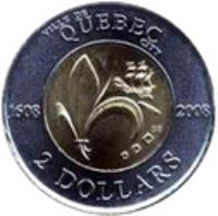 reverse of 2 Dollars - Elizabeth II - Quebec City (2008) coin with KM# 1040 from Canada. Inscription: VILLE DE QUÉBEC CITY 1608 2008 GB 2 DOLLARS